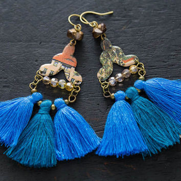 Large Blue Tassel Fringe Earrings with Vintage Tin, Large Statement Earrings, Blue Fringe Earrings, Long Tassel Earrings, Very Long Earrings