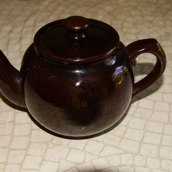 Individual Ceramic Pottery China Teapot SADLER Made In England Pottery Brown Glaze