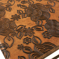 Sandy Brown Floral Embossed Notebook with Handmade Paper