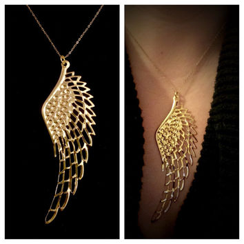 Stunning and Bold 14k Gold Filled Angel Wing Necklace by Tickle Bug Jewelry! Bird Wing Necklace; Flight Necklace; Angel wing; Take Flight