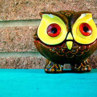 Owl Candle Holder Small Ceramic Owl Yellow Brown Orange