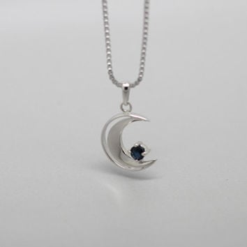 Moon and Star Genuine Blue Sapphire Sliver Sapphire Star and Crescnt  Necklace, Birthdays, Wedding present, Special Occasions