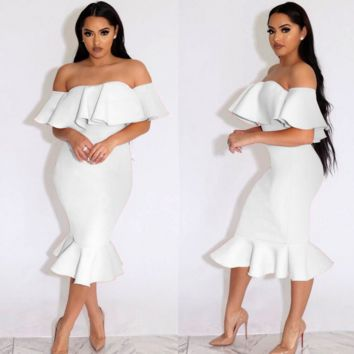 New fashion sexy pure color strapless off shoulder layered  fish tail type dress white