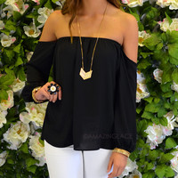 Melrose Black Off Shoulder Chiffon Top