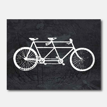 Vintage Art Print - 8 x 104 - Tandem Bike Wall Print - Room Decor on vintage paper, or Grunge