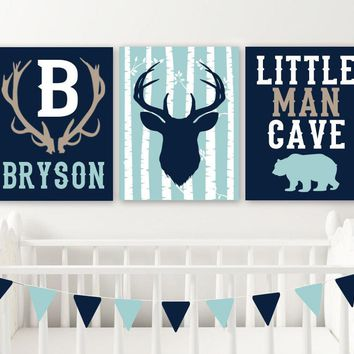 DEER Antler NURSERY DECOR, Baby Boy Nursery Wall Decor, Little Man Cave Bear Deer Canvas or Prints, Boy Name Rustic Deer Nursery, Set of 3