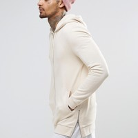 ASOS Longline Zip Up Hoodie With Side Zips In Beige