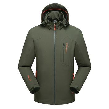 8XL Men's Spring Autumn Windbreakers Casual Male Softshell Waterproof Raincoat Quality Brand Man Warm Hooded Thick Clothing