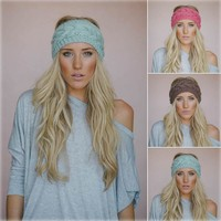 Solid Wide Knitting Woolen Headband