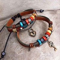 Handmade Couple Leather Bracelets Key To My Heart by deniserose on Zibbet