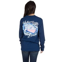 Whatever Floats Your Boat Long Sleeve Tee Shirt in Estate Blue by Lauren James - FINAL SALE