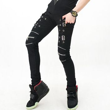 Stage personality men hole pants metal rivet pant men trousers singer dance rock fashion pantalon homme street star style black
