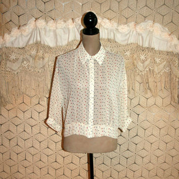Sheer White Blouse Polka Dot Grunge Button Up 3/4 Sleeve Oversized Chiffon Blouse Spring Blouse Summer Blouse Small Medium Womens Clothing