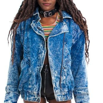 Vintage 80's Back to the Future Denim Bomber Jacket - One Size Fits Many