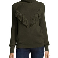 Ribbed Turtleneck with Fringe, Military, Size: