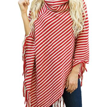 Casual Striped Pile Collar Sweaters
