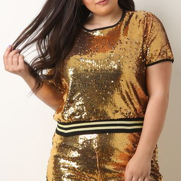 Sequin Short Sleeves Crop Top With Shorts Set