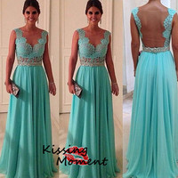 Sexy backless A-line Prom dresses, Discount flowing chiffon Prom dresses, Lace transparent cheap hot prom dress, Formal evening dress, 9071