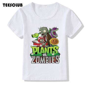 TEESCLUB Game Plants Vs Zombies T-shirt Kid Summer Top Girl Boy Casual Round Neck Clothing Children T-shirt Camiseta