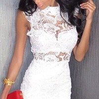 White Floral Lace Sleeveless Fitted Body Con Pencil Mini Dress - As Seen on Lily Ghalichi