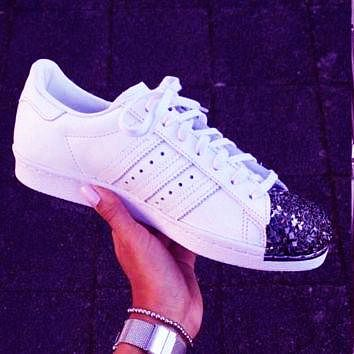 Adidas Shamrock SUPERSTAR metal shell head shining shoes White+b ad3c2d2fd4