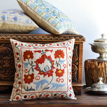 Floral Hand Embroidered Vintage Suzani Pillow Cover - Bohemian Throw Pillow - Ethnic Pillow