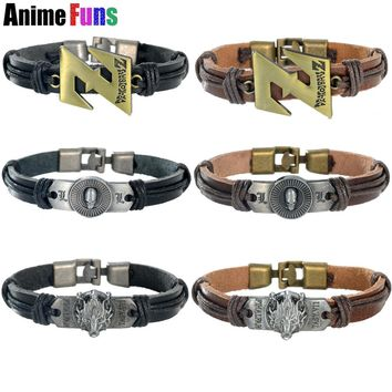Anime Dragon ball Z Death Note Skull Leather Bracelet Final Fantasy Lion Head Logo Punk Wristband Bangle Charm Jewelry drop-ship
