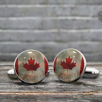 CUFFLINKS - Vintage Flag of Canada -  the Maple Leaf