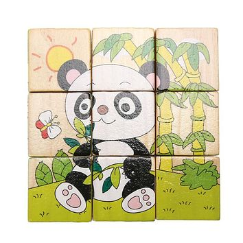 Six Sides Wooden Puzzle Cube Baby Kids Learning Educational Toys 3D Panda Print Jigsaw Puzzle Montessori Wood Toy Gift