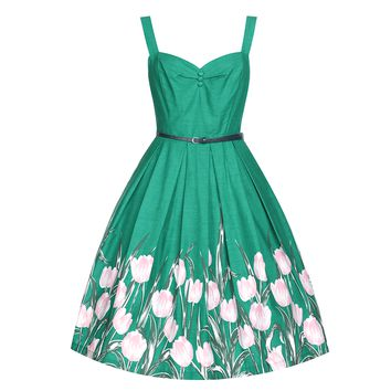 This girly swing dress with tulip print at bottom of skirt, features a sweetheart neckline with 3-cover-button at bodice detailing, sleeveless, thick shoulder straps, box pleated flare skirt with 2 pockets, 2 belt loops with leatherette belt in navy color,