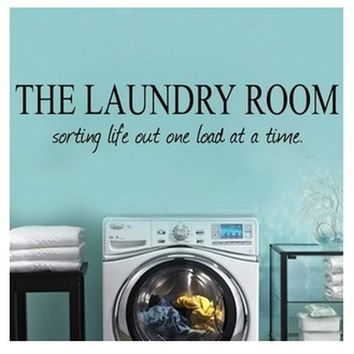 """4 Colors 91.4*19.1cm """"laundry Room"""" Pvc Removable Wall Stickers Wall Decals Decorative Adesivo De Parede Wall Stickers Home Deco"""