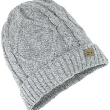Sean John Men's Cable Knit Beanie, Heather Gray, One Size