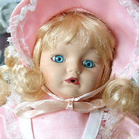 Vintage Girl Doll Toy Collectible Blonde Hair Blue Eyes Pink Dress Baby Doll