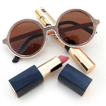 Round Metal Sunglasses in 2 Colors - 100% UV Protection