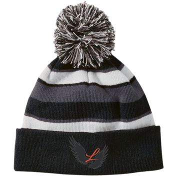 Louisville Striped Beanie with Pom