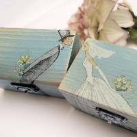 Wedding Wooden box Ring bearer Gift box Wedding decor gift idea Turquoise