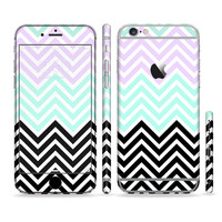 The Light Teal & Purple Sharp Black Chevron Sectioned Skin for Most Mobile Devices (Choose your device)