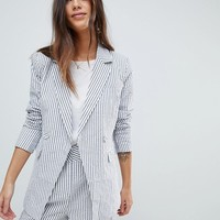 Y.A.S Stripe Summer Double Breasted Blazer Co-Ord at asos.com