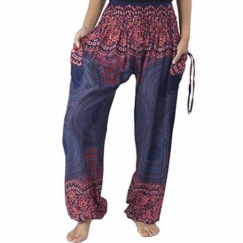 Women's Smocked Rose Circle Two Pockets Boho Yoga Pants