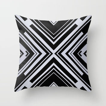 Black and White X Tribal Pattern Shapes Geometric Geometry Contrast I Throw Pillow by AEJ Design