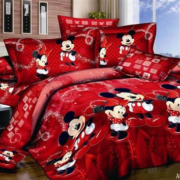 DISNEY 100% Cotton 3d mickey mouse bedding sets 4PCS minnie kids duvet cover king/queen/twin size bedsheet Red happy bed set