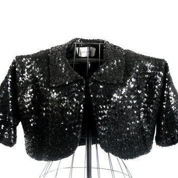 Vintage Sequin Bolero Jacket Black Shrug by houseofheirlooms