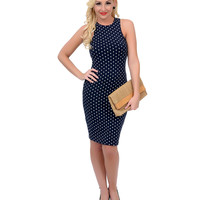 Navy & White Polka Dot Scoop Neck Racerback Knit Wiggle Dress