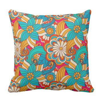 Cute Modern Spring Flowers Pattern Girly Floral Throw Pillow