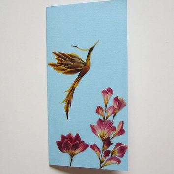 "Handmade unique greeting card ""Open attitude to life"" - Decorated with dried pressed flowers - Original art collage."