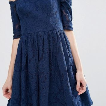 Chi Chi London Petite Bardot Long Sleeve All Over Lace Dress at asos.com