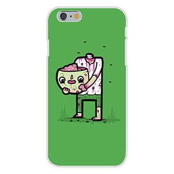 Apple iPhone 6 Custom Case White Plastic Snap On - 'Self Sufficient' Zombie Eating Own Brain