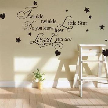 "Vinyl Quote Wall Sticker / Decal - Free Shipping -  ""Twinkle twinkle little star, do you know how loved you are"""