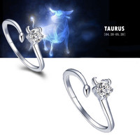 925 Sterling Silver 12 Constellations Zodiac Crystal Ring (Taurus)