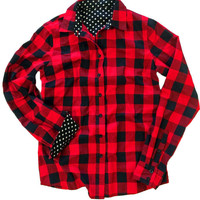 Red Plaid Polka Dot Lined Long Sleeve Shirt
